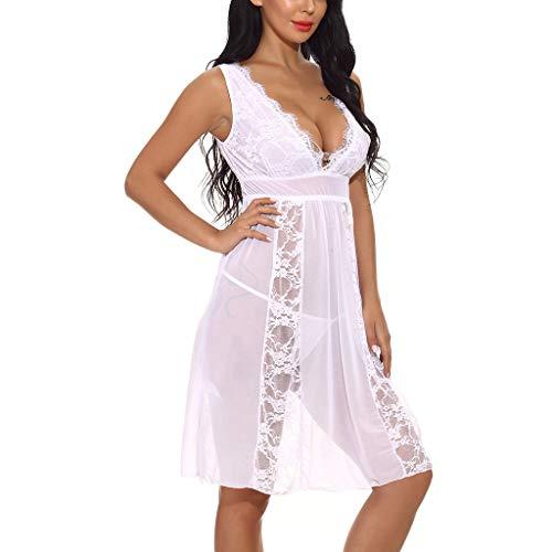 (Beikoard Sexy Dessous,Frauen reizvolle Lange Spitzewäsche Nachthemd Schiere Kleid Chemise G-String Sexspielzeug Für Frauen Sexy Lingerie)