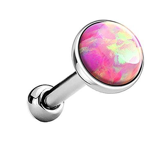 Piersando Tragus Piercing Helixpiercing Helix Ohr Cartilage Knorpel Stecker mit flachen Opal Steinen Silber Pink 4mm
