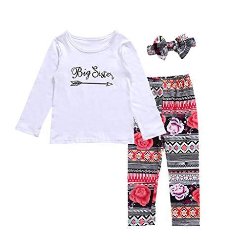 Comie Baby Kleidung Sets, Kinder Baby Mädchen Brief Langarm T Shirt + Print Hosen Outfits Kostüm, Hochwertigen Materialien Keine Schäden für Die Haut Ihres BabysWeiß (Keine Haut Kostüm)