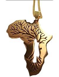 CrownOfRibbons - Collar con colgante para hombre, diseño de mapa de África