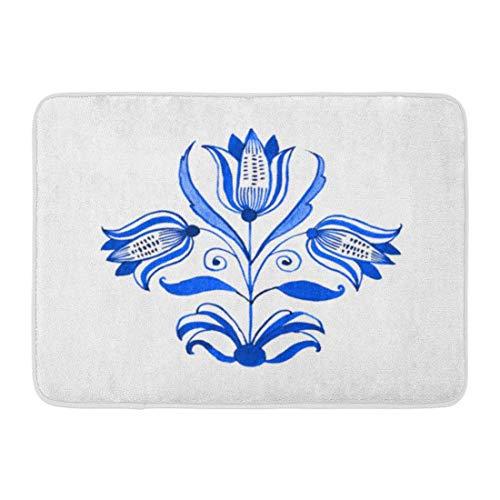 Sheho Rutschfeste Fußmatten Aquarell Folk Delft Blau Aquarell Traditionelle holländische Blumenbaum-Tulpen Kobalt auf antiken dauerhaften Hauptdekor-Matte 23,6 x 15,7 Zoll