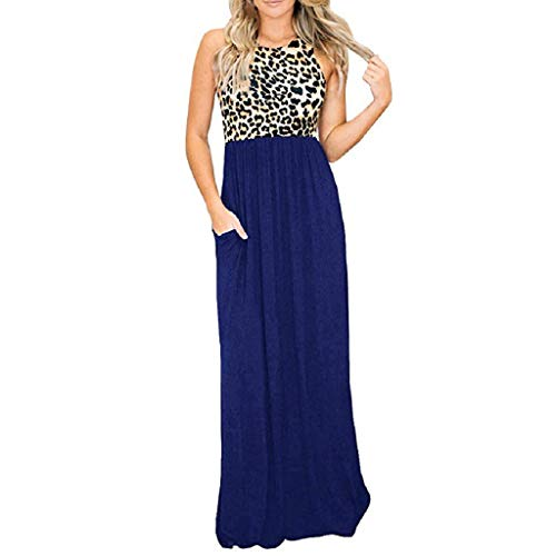 Kleider Sommer,Kleid Damen Elegant Damen Sommer Maxi Dress Fashion Sleeveless Trägerlosen Leopardenmuster Top Lange Schlanke Dress Von Evansamp(Blau,L) - Schwarzen Trägerlosen Kleid