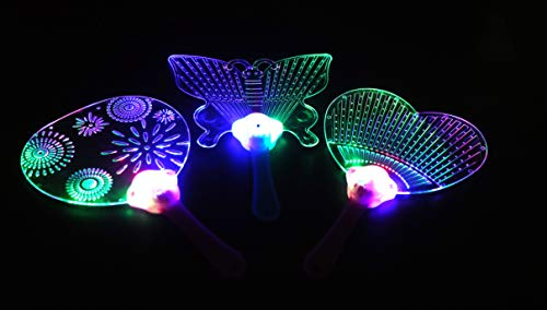 LED Flashing Hand Fan Colorful 3 LED Bulbes Acrylic Plastic Light Up Fan for Party Gift (Pack of 3) -