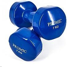 Promic 1Lb a 9,7kg mano levantamiento de pesos deluxe con revestimiento de vinilo juego de mancuernas entrenamiento aeróbico Fitness, juego de 2, azul oscuro, 2 x 7 kg