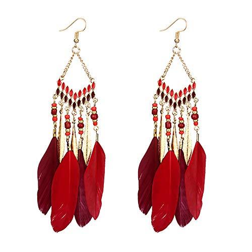 UINGKID Damen Ohrringe Mode Ohrstecker Vintage Frauen Fransen Perlen Lange Feder Mit Passenden n