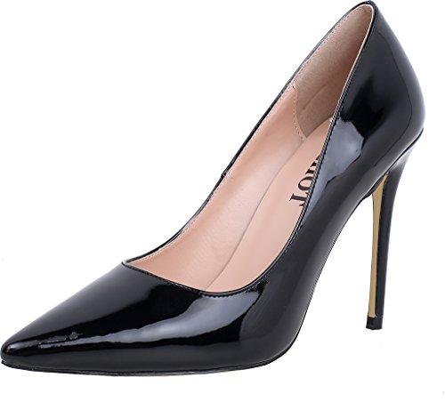 ELEHOT Donna Athena tacco a spillo 10CM Leather Scarpe col tacco, nero, 35