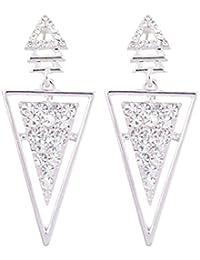 Aaishwarya Silver Toned Stone Studded Inverted Triangular Dangler Earring For Women/Girls