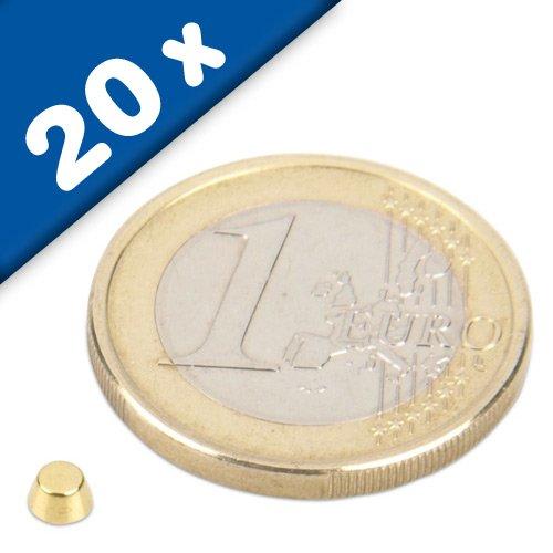 20 x Konusmagnet Ø 4,0/2,0 x 2,0 mm Neodym N45, Gold - starker Powermagnet/Supermagnet/Permanentmagnet mit extremer Haftkraft, für Kühlschrank, Magnet Glasboards, Magnettafel, Pinnwand, Whiteboard (Magnet Single-pole)