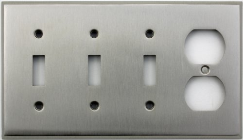 Light Switch Wall Plate (Classic Accents Stamped Steel Satin Nickel Four Gang Wall Plate - Three Toggle Light Switch Openings One Duplex Outlet Opening by Classic Accents)