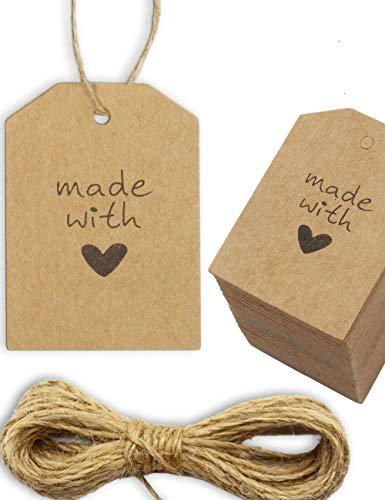 Kraftpapier, Karton, Geschenk-Anhänger, Papier-Anhänger, Tags, Label   5,5 x 24 cm, mit 10m Jute-Schnur, zum Geschenk verpacken  