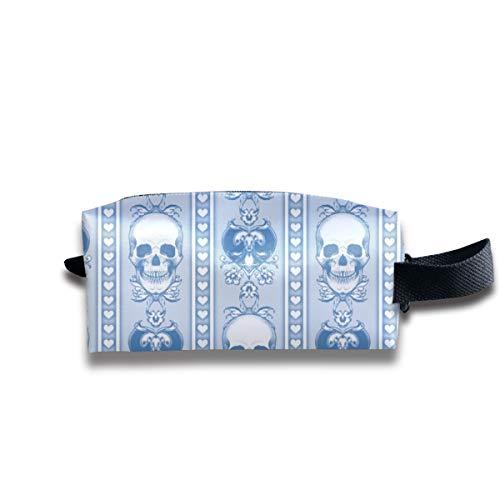 Barock Schädel Streifen Light Blue_9286 Tragbare Reise Make-up Kosmetiktaschen Organizer Multifunktions Tasche Taschen für Unisex -