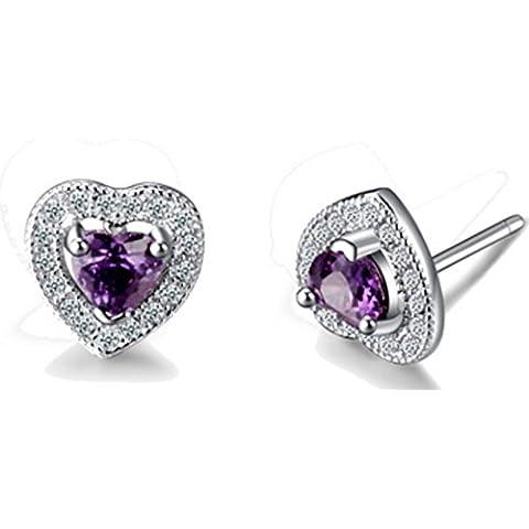 SaySure - Purple Heart Earrings 925 Sterling Silver Earrings