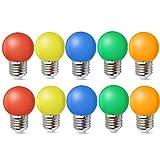 10er E27 LED Bunte 1W Farbige Glühbirnen Farbig Gemischt 100LM Energiesparende PC LED Bunte Birnen Deko Glühbirne AC220V-240V, Rot, Gelb, Blau, Grün und Orange