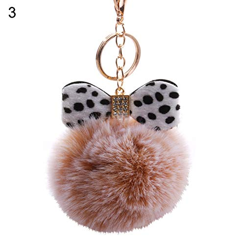 ChanYYw Keychain Pet Key Ring Cute Leopard Print Bowknot Plush Ball Key Chain for Bag Car Hanging Ornament Keyring 3# Cute Leopard