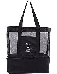 Bolsos de totalizador, bolsos de compras del lino del algodón del todos portable, Parte inferior cremallera compartimento de aislamiento de calor bolsa de picnic