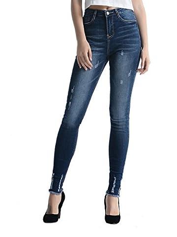 Alice & Elmer Jeans Stretch Taille Haute Skinny,Classique Détruits Ripped Pantalon Femme,Jeans Femme,Bleu 30