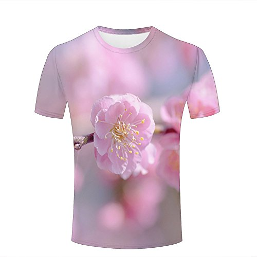 Mens 3D Printed T-Shirts Pink Cherry Flower Close Up Graphics Couple Tees A