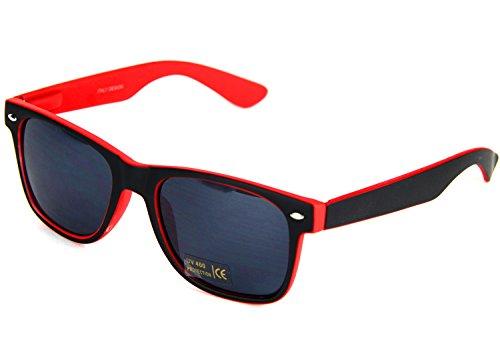 Nerd Clear Sonnen-Brille ohne Sehstärke 15cm Herren Damen Unisex Panto-Brille Wayfarer Geek Kunststoff Schwarz Rot
