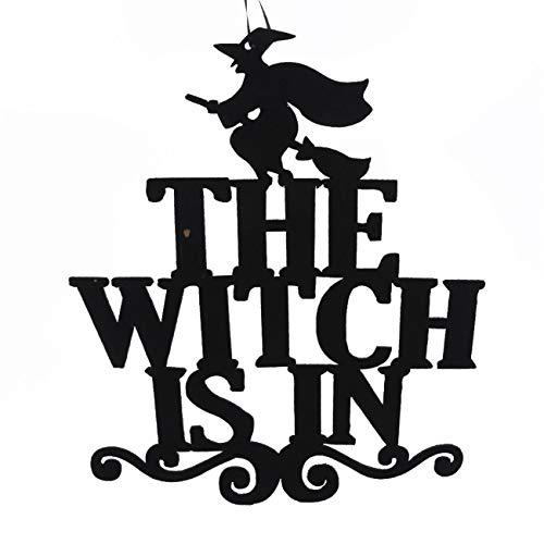 ZALING die Hexe ist in der Halloween-hängenden Zeichen-Tür, die Halloween-Dekoration hängt (Hexen In Der Halloween)