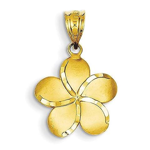 14ct Yellow Gold Diamond-cut Plumeria Pendant