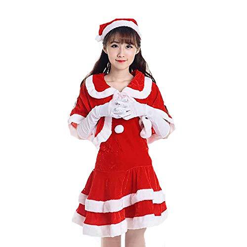 Santa Anzug Erwachsene Cosplay Sexy Frauen Rot Zubehör Uniform Bühnenkostüme Kostüm Outfits Für Weihnachten/Karneval Halloween Kostüme,Red,OneSize (Billig Sexy Santa Kostüm)