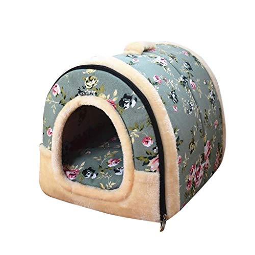 Hundebett 2-in-1 Faltbare Haustier Haus & Sofa Tragbar Hundehütte Katzenbett Gemütlich Plüsch Hundehöhle Kennel für Hunde Katzen Welpen Kleine Haustiere ()
