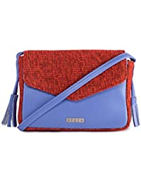Veuza Merry Premium Jacquard And Faux Leather Cornflower Blue Sling Bag