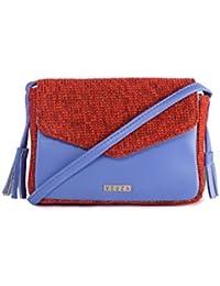 Veuza Merry Premium Jacquard And Faux Leather Cornflower Blue Sling Bag