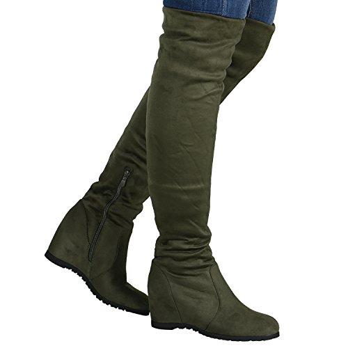 Gefütterte Damen Stiefel Overknees Keilabsatz Boots 76960 Dunkelgrün