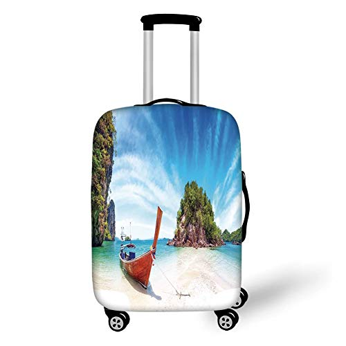 Top Zip Carry On (Travel Luggage Cover Suitcase Protector,Tropical,Surreal Beach in Thailand with an Old Wooden Boat Island Ocean Picture,Fern Green Blue Cream,for Travel)