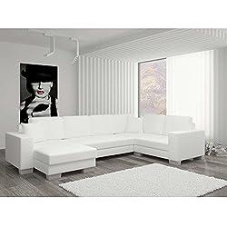 JUSThome Marco I Sofá esquinero chaise longue Sofá de esquina función de cama Sofá-cama Piel sintética (BxLxH): 145-206x303x86 cm Blanco Brazo izquierdo