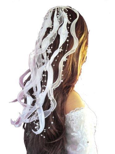 LadyMYP© Kopfschmuck / Haarschmuck/Haarbänder mit Blüten und Perlen Hochzeit Kommunion (Weiß)