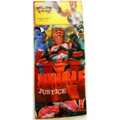 Rangers Jungle Fury Drei Handtuch-Set, Badetuch, Handtuch und Waschlappen Handtuch), baumwolle, siehe abbildung, See Description (Roten Jungle Fury Power Ranger)