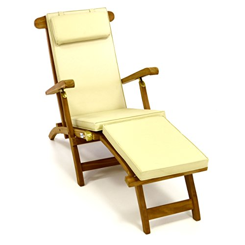 Divero Liegestuhl eleganter Deckchair Florentine Steamer Chair Teakholz Liegenauflage mit Kopfteil Creme mit 4 Segmenten wasserabweisend Bezug abnehmbar mit Reißverschluss, -