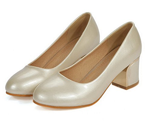 Pumps Ziehen Rein Material Niedriger Weiches Allhqfashion Absatz Cremefarben Auf Schuhe Damen 1T8qq4