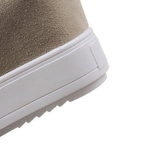 VogueZone009 Femme Couleur Unie Dépolissement à Talon Haut Tire Rond Chaussures Légeres Beige