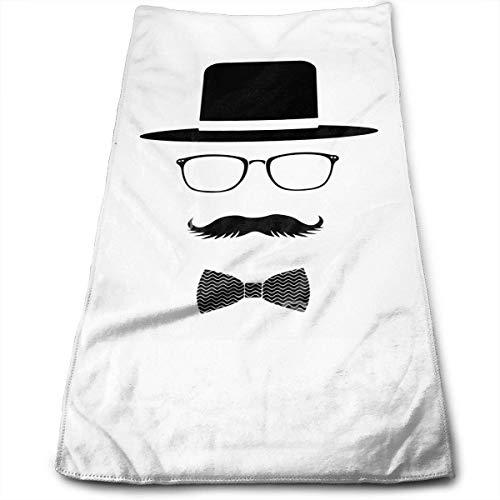 Wodann Hat Mustache Bow Tie Gentleman Microfiber Hand Towel Water Absorbent Soft Polyester Lightweight Travel Towel,Bath Sheet for Bath Hand Face Hair Gym and Spa (Bow Tie-bundle)