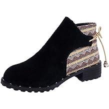 Envío GRATIS en pedidos elegibles. ❤ Botas Mujer Invierno Planas,Botas de Mujer Flock Cuñas Low Zipper Botas de