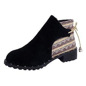 SCHOLIEBEN Boots Stiefel Chelsea Ankle Damen Schwarz Kurzschaft Biker Schuhe Shoes Flach Desert Combat Bundeswehr Winter Chukka Absatz High Heel Plateau