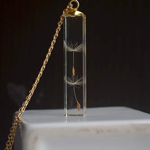 ahn Make A Wish Echte Blume Transparent Cube Harz Gold Farbe Anhänger Kette Lange Halskette Frauen Boho Modeschmuck ()