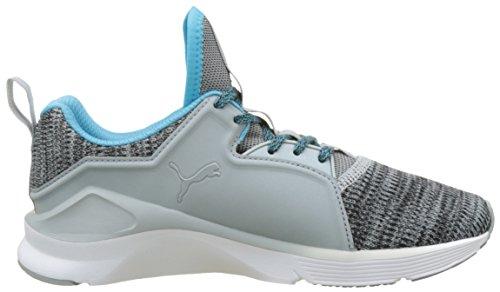 Puma Fierce Lace Knit Wns, Scarpe Sportive D'intérieur Donna Grigio (carrière-puma Blanc-bleu Atoll 03)