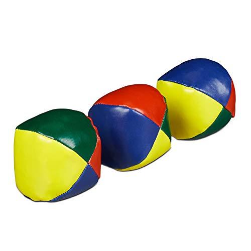 Relaxdays Jonglierbälle 3er Set, Profis & Anfänger, Juggling Balls weich, Kinder & Erwachsene, Jonglierset, Ø 6 cm, bunt