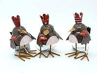 Gisela Graham set di 3latta barcollando uccelli con corone