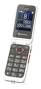 Amplicomms PowerTel M7000i Bouton d'appel d'urgence blanc BT 3.0Volume Vibration extra, Kit mains libres, Réponse vocale des noms du carnet d'adresse