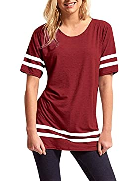 Landfox Ladies Stripe Baggy Top Manga Corta Sport Pullover Camisetas Blusa Mujer Manga Corta Casual Camiseta Mezcla...