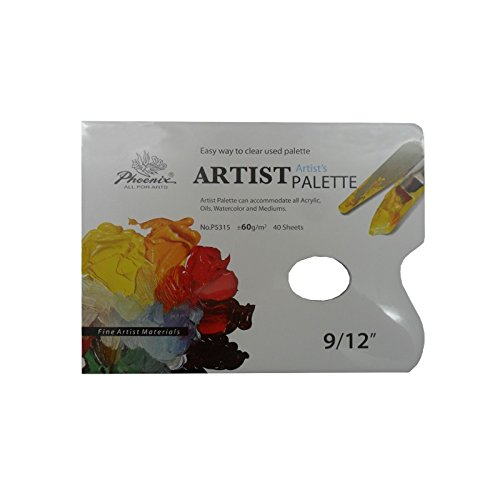 PAQUETE DE 40 PALETAS DESECHABLES ARTIST PHOENIX 31X23 60G/M2