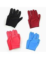 Zhichengbosi 8pcs trois doigts Gants de billard de billard avec Noir, Bleu, Rouge, vin rouge Couleur
