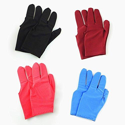 zhichengbosi 8Drei Finger Snooker Billard Handschuh mit Schwarz, Blau, Rot, Wein Rot Farbe