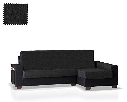 JM Textil Schoner für Ecksofa mit Larissa Ottomane Rechts, Grösse normal (245 cm.), Farbe Schwarz