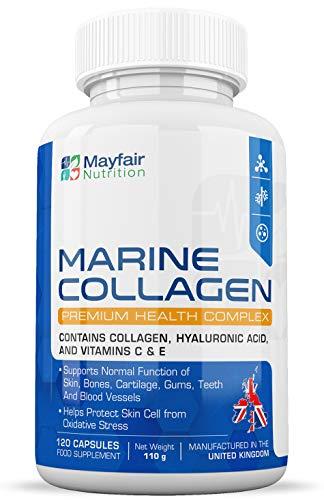Marine Collagen Complex | 120 Premium Kapseln | Typ 1 Meereskollagen, Hyaluronsäure und Vitamine C & E für Gelenke, Haare, Haut und Nägel | Hergestellt in Großbritannien